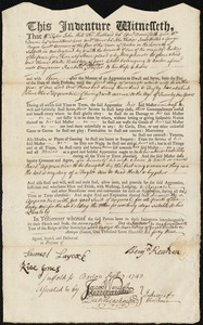 Document of indenture: Servant: Boulton, Thomas W. Master: Ranken, Benjamin. Town of Master: Boston