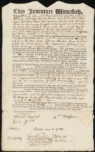 Document of indenture: Servant: Ellis, Lettice. Master: Dickson, William. Town of Master: Boston