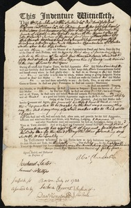 Document of indenture: Servant: Sumner, Samuel. Master: Chamberlain, Alexander. Town of Master: Boston