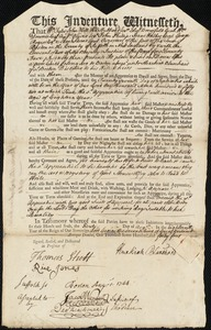 Document of indenture: Servant: Ellis, Dorcas. Master: Blanchard, Hezekiah. Town of Master: Boston