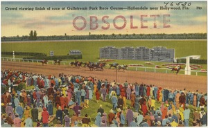 Crowd viewing finish of race at Gulfstream Park Race Course- Hallendale near Hollywood, Fla.
