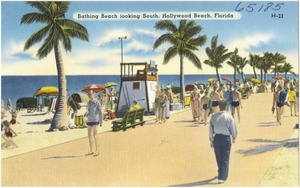 Bathing beach looking south, Hollywood Beach, Florida