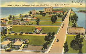 Bird's-eye view of Hollywood Beach and inland waterway, Hollywood, Florida