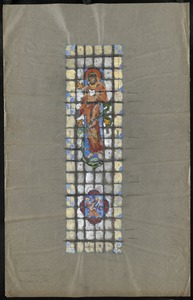 Window with a man, possibly Saint Francis, in the upper middle.