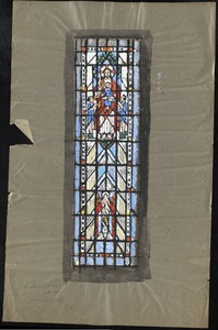Window with Jesus surrounded by children in the upper middle, with figure of angel in lower middle.
