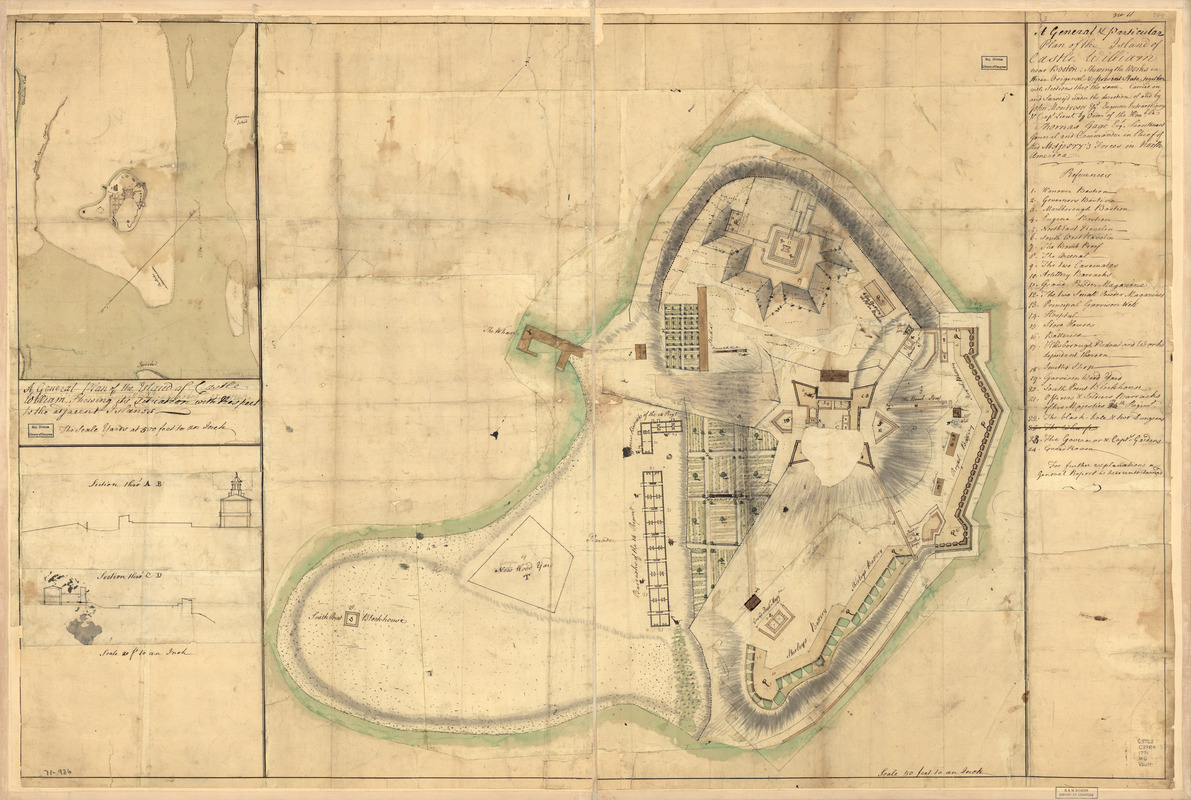 A general & particular plan of the island of Castle William near Boston