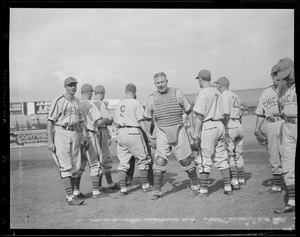 Chicago Cubs players argue with the umpire at Braves Field