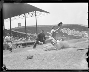 Play at the plate at Braves Field