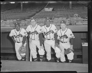 Four Boston Braves players in dugout, Braves Field