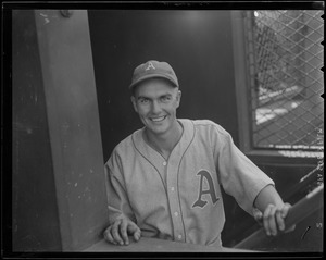 Athletic in dugout at Fenway