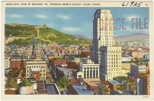Bird's-eye view of Reading, PA., showing Berk's County Court House