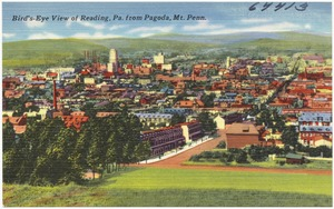 Bird's-eye view of Reading, Pa., from Pagoda, Mt. Penn.
