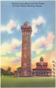 William Penn Memorial Fire Tower & Tower Hotel, Reading, Panna.