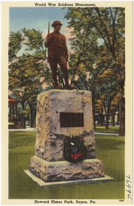 World War Soldiers Monument, Howard Elmer Park, Sayre, Pa.