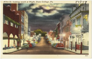 Allen St. looking south at night, State College, Pa.