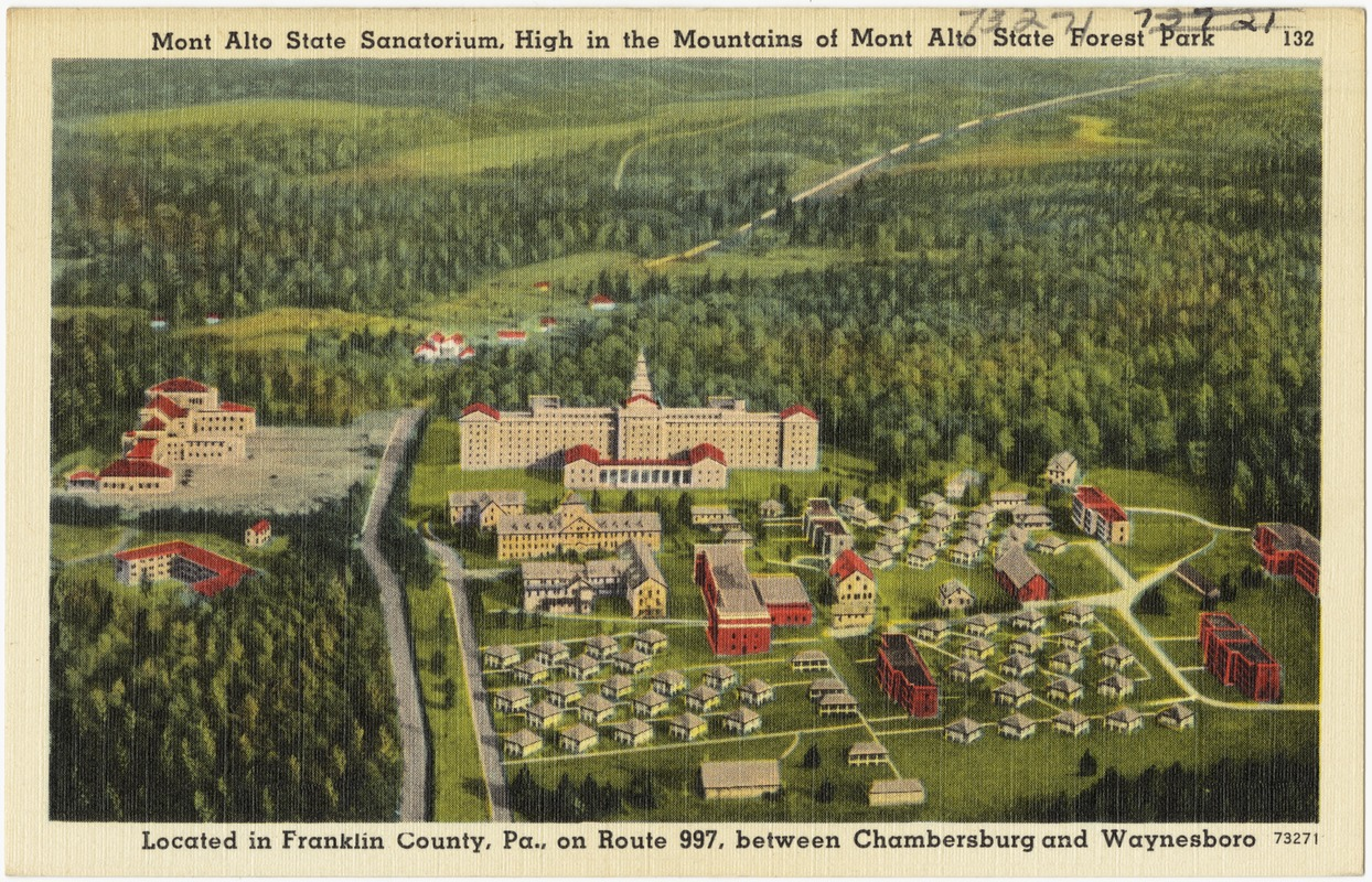 Mont Alto Sanatorium, high in mountains of Mont Alto State Forest Park, located in Franklin County, Pa., on Route 997, between Chambersburg and Waynesboro