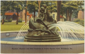 Wynken, Blynken and Nod Fountain in Public Square Park, Wellsboro, Pa.
