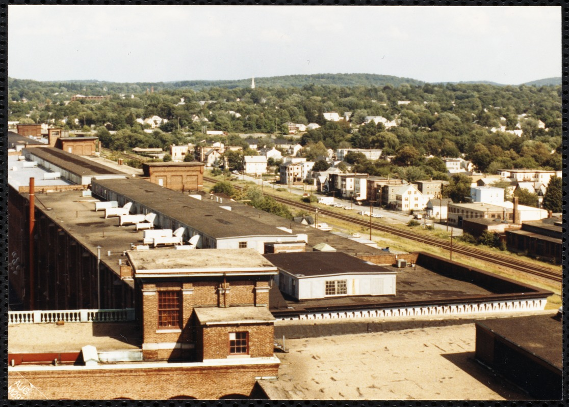 Aerial view of mills in Lawrence, Mass