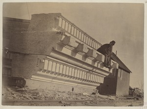 Cornice stone at Milford Quarry, construction of the McKim Building