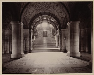 Entrance hall and Grand staircase, construction of the McKim Building