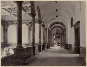 Arcade corridor with Saint-Gaudens lion, construction of the McKim Building