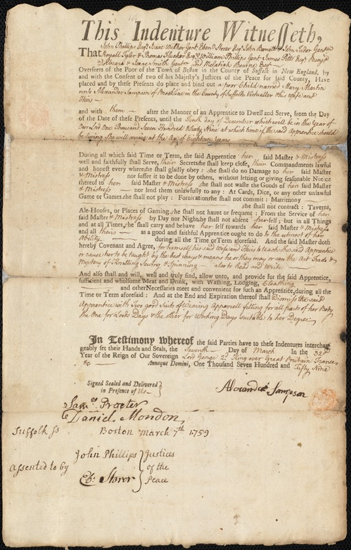 Document of indenture: Servant: Martin, Mary. Master: Sampson, Alexander. Town of Master: Brookline