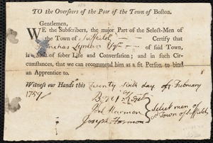 Document of indenture: Servant: Ingersoll, Ann. Master: Lyman, Phinehas. Town of Master: Suffield. Selectmen of the town of Suffield autograph document signed to the Overseers of the Poor of the town of Boston: Endorsement Certificate for Phineas Lyman.