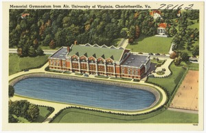 Memorial Gymnasium from air, University of Virginia, Charlottesville, Va.