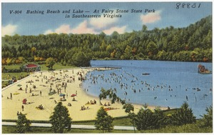 Bathing Beach and lake -- At Fairy Stone State Park in Southeastern Virginia