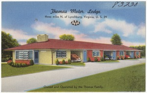 Thomas Motor Lodge, three miles N. of Lynchburg, Virginia, U.S. 29