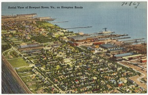 Aerial view of Newport News, Va., on Hampton Roads