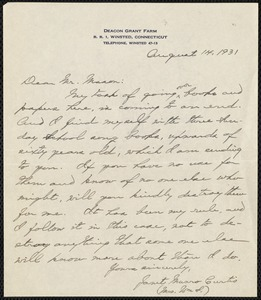 [Letter] 1931, August 14, Winstead, Connecticut [to] Mr. Mason