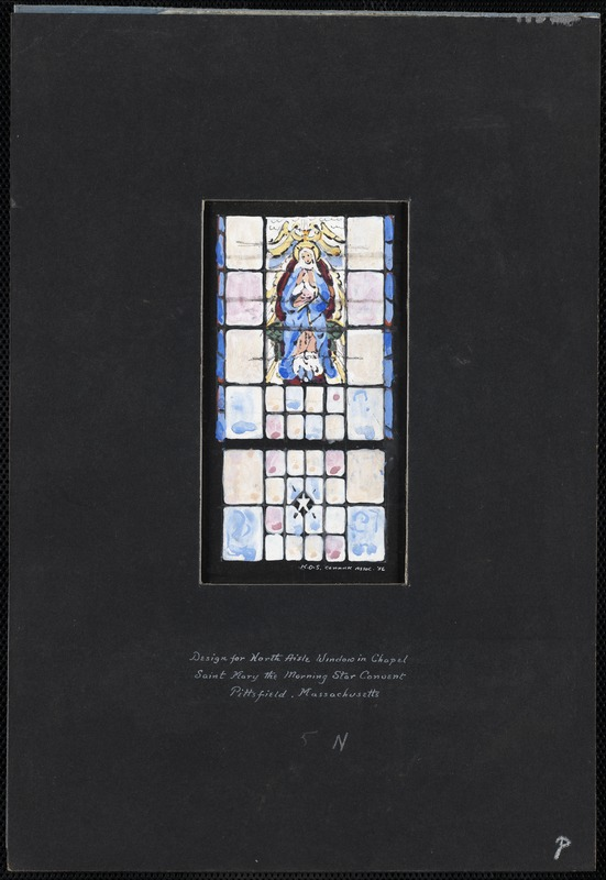 Design for north aisle window in chapel, Saint Mary the Morning Star Convent, Pittsfield, Massachusetts, 5 N