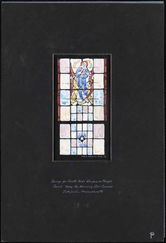 Design for south aisle window in chapel, Saint Mary the Morning Star Convent, Pittsfield, Massachusetts, 4-S
