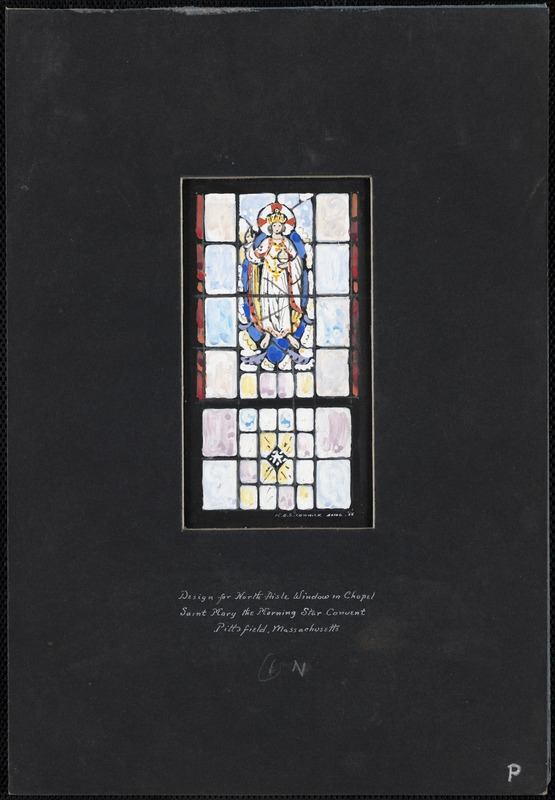 Design for north aisle window in chapel, Saint Mary the Morning Star Convent, Pittsfield, Massachusetts, 6 N