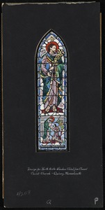 Lord thou canst make me clean. Design for north aisle window third from chancel, Christ Church, Quincy, Massachusetts