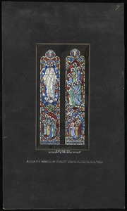 Ascension, descent of the Holy Spriit, design for window in Christ Church, Swansea, Mass.