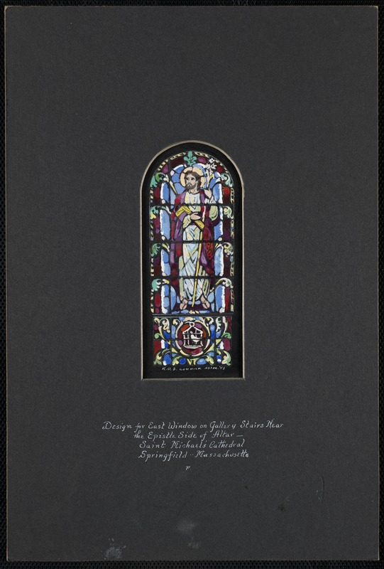 Design for east window on gallery stairs near the epistle side of altar - Saint Michael's Cathedral, Springfield, Massachusetts. F.