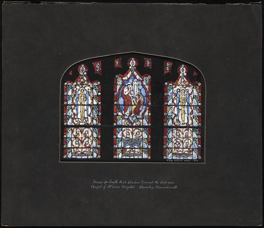 Design for south aisle window nearest the entrance, chapel