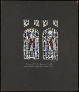 Design for middle aisle window of west wall, Congregational Church, West Medford, Mass.