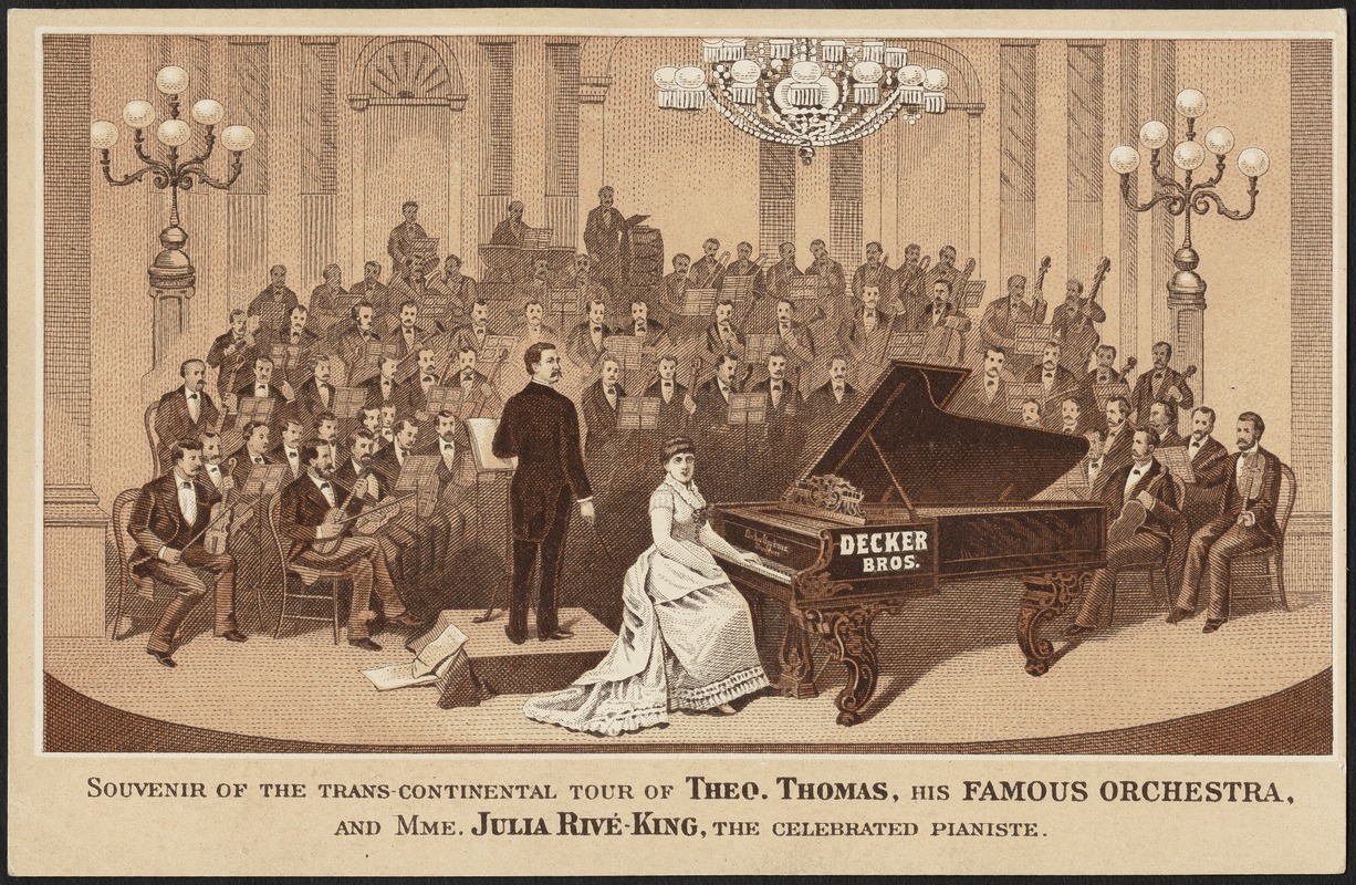Souvenir of the trans-continental tour of Theo. Thomas, his famous orchestra, and Mme. Julia Rive-King, the celebrated pianiste.