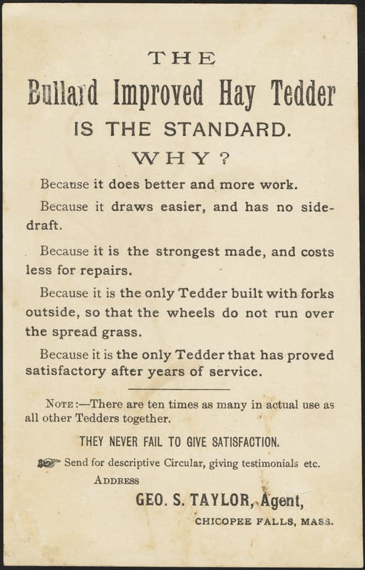 The Bullard Improved Hay Tedder - Digital Commonwealth