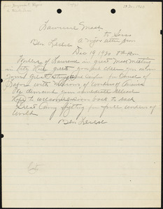Benjamin F. Legere manuscript letter (copy) to Nicola Sacco, Lawrence, 19 December 1920