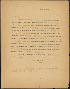 Nicola Sacco typed letter (copy) to Bartolomeo Vanzetti, [Dedham], 20 November 1921