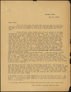 Sacco-Vanzetti Defense Committee typed letter (copy) to Nicola Sacco, [Boston], 11 May 1922