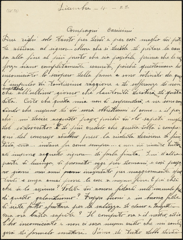 """Nicola Sacco autographed letter signed to """"Compagni carissimi"""", [Dedham], 4 December 1922"""