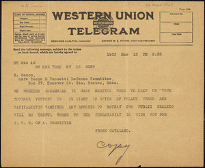 Frank Catalano (Amalgamated Clothing Workers of America assembled with other workers delegations in New York) typed cable (copy) to Nicola Sacco, New York, 12 March 1923