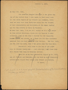 Nicola Sacco typed letter (copy) to Mrs. [Cerise] Jack, [Dedham], 6 October 1923 and 3 November 1923