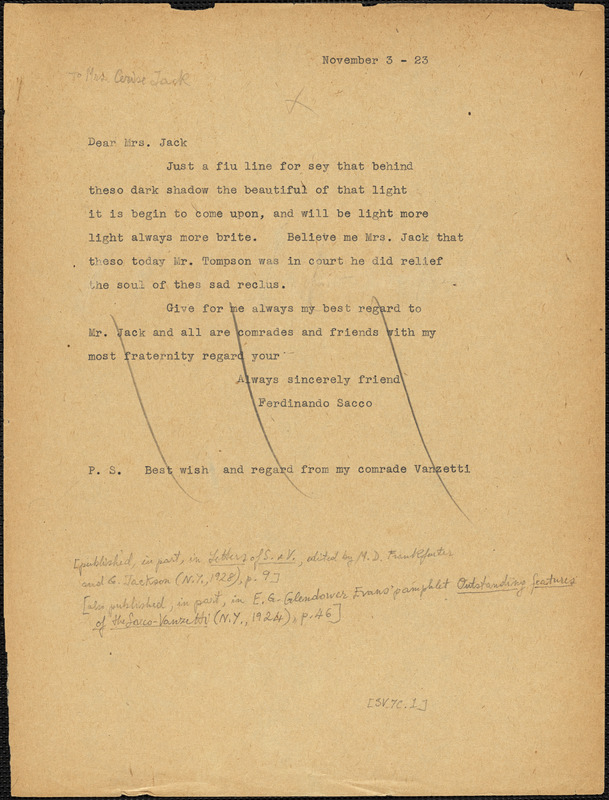 Nicola Sacco typed note (copy) to Mrs. Cerise Jack, [Dedham], 3 November 1923