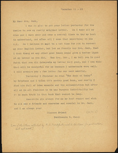 Nicola Sacco typed letter (copy) to Mrs. [Cerise] Jack, [Dedham], 11 December 1923